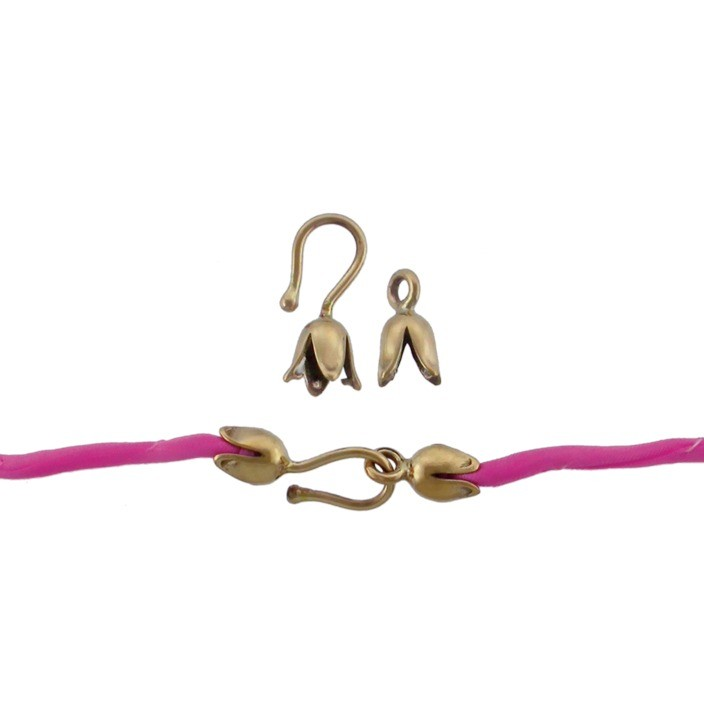 Small Tulip Hook and Eye Crimp Clasp - Bronze DISCONTINUED
