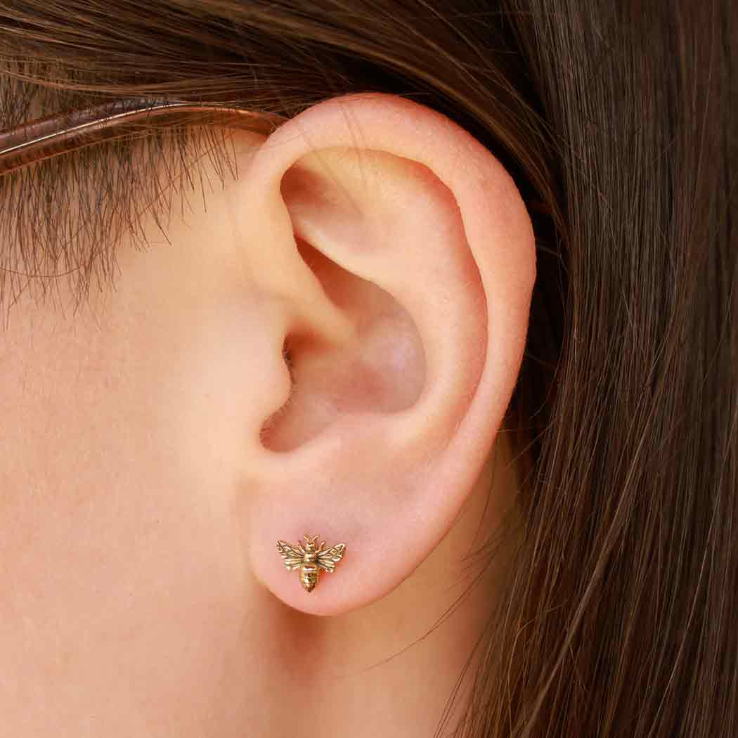 Bronze Bee Post Earring 6x8mm