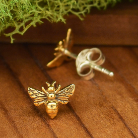 Bronze Bee Post Earring 6x8mm