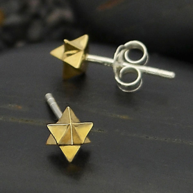 Bronze Merkaba Post Earrings