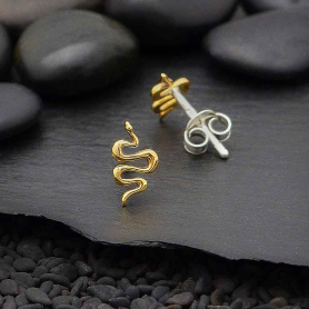 Bronze Snake Earrings 9x5mm