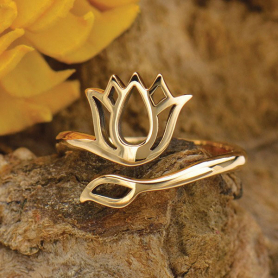 Adjustable Ring with Lotus Design - Bronze