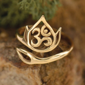 Adjustable Ring with Openwork Lotus and Om - Bronze