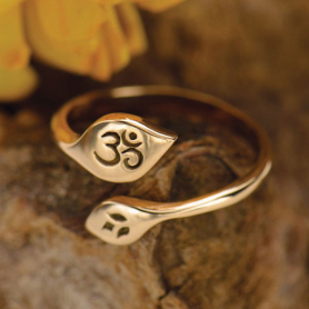 Adjustable Ring with Lotus and Om  - Bronze