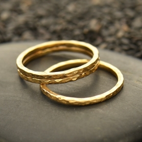 Natural Bronze Ring - Hammered Stacking Ring