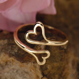 Adjustable Ring with Double Heart - Bronze