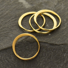 Bronze Half Hammered Circle Jewelry Link -12mm