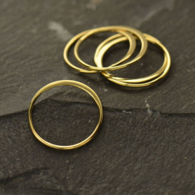 Bronze Half Hammered Circle Jewelry Link -15mm