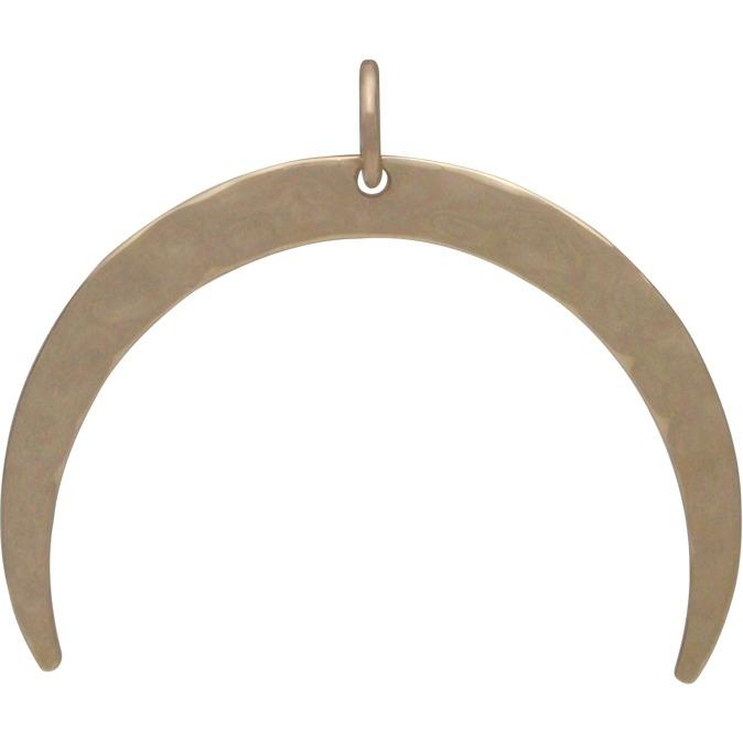 Bronze Hammered Crescent Moon Pendant 26x30mm
