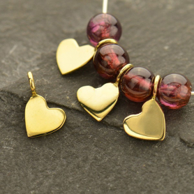 Tiny Heart Dangle Charm -  Bronze 8x5mm