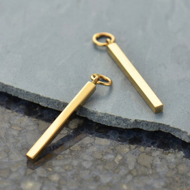 Medium Natural Bronze Square Bar Dangle