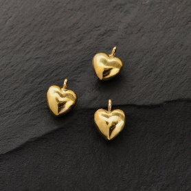 Tiny Puffed Heart Charm - Bronze