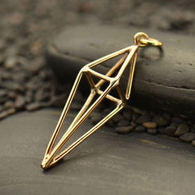 Cage Kite 3D Pendant - Bronze 36x11mm