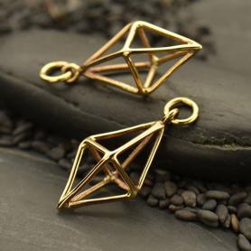 Cage Diamond 3D Pendant - Bronze