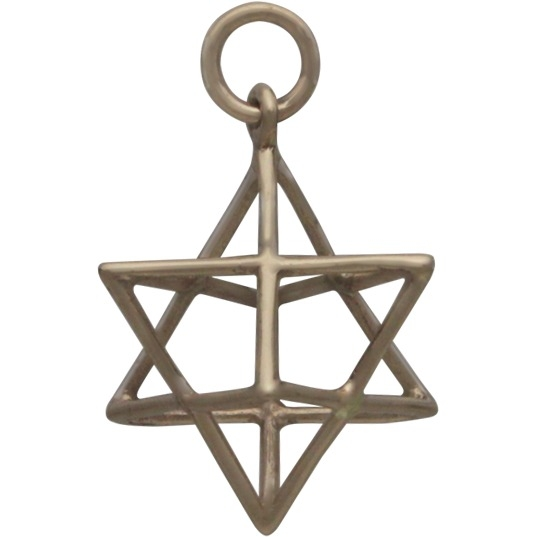 Sacred Geometry Wire Merkaba Pendant - Bronze 23x17mm