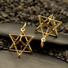 Sacred Geometry Wire Merkaba Pendant - Bronze