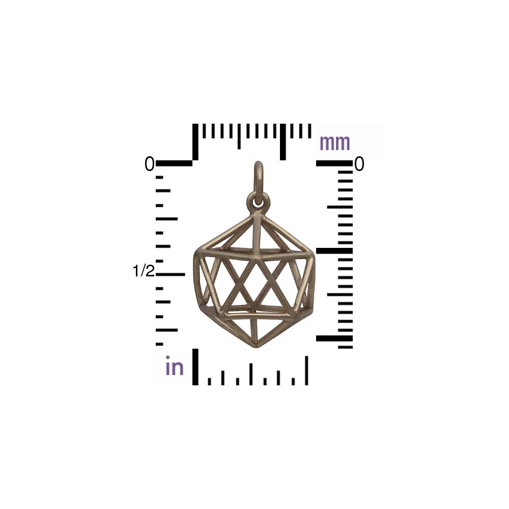 Sacred Geometry Wire Icosahedron Pendant - Bronze 21x15mm