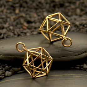 Sacred Geometry Wire Icosahedron Pendant - Bronze