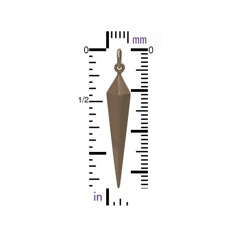 Long Spike Charm - Bronze Jewelry Charm 35x6mm