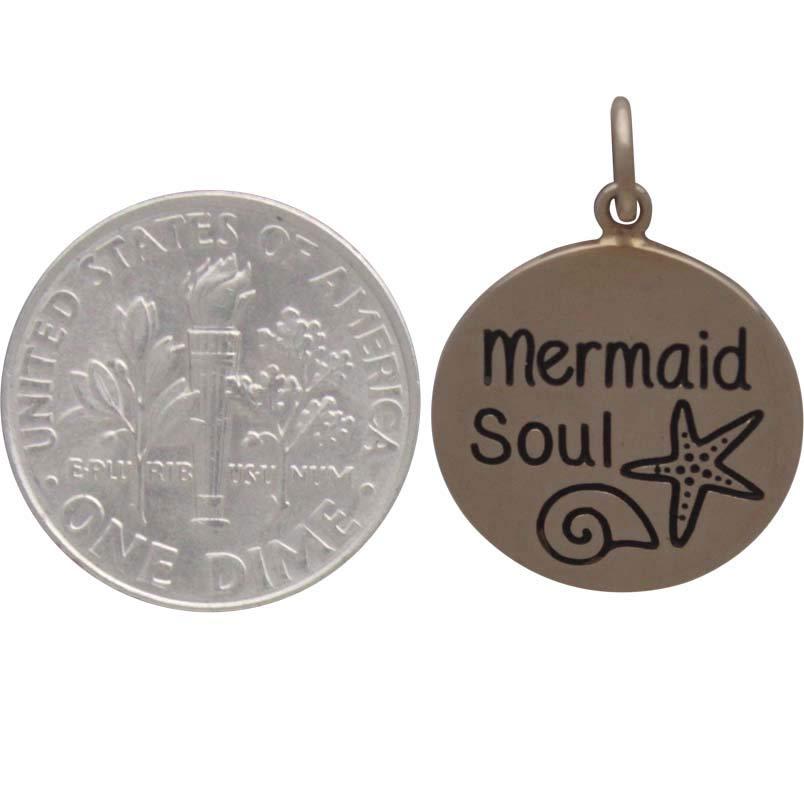 Bronze Message Charm - Mermaid Soul 21x15mm