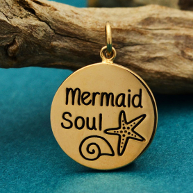Bronze Message Charm - Mermaid Soul 21x15mm