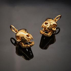 Bronze Cat Skull Charm 18x9mm