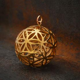 Bronze Flower of Life Sphere Pendant 30x24mm