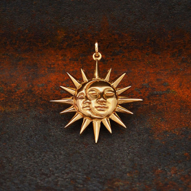 Bronze Moon and Sun Pendant with Faces 28x23mm
