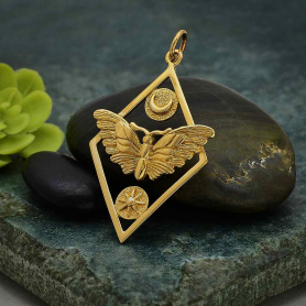 Bronze Geometric Moth Charm with Sun and Moon 35x21mm