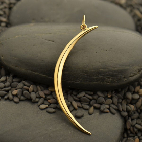 Skinny Ridged Crescent Moon Pendant - Bronze