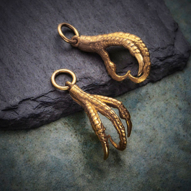 Bronze Bird Claw Charm - Realistic Bird Talon 22x10mm
