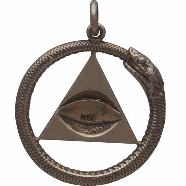 All Seeing Eye and Ouroboros Pendant - Bronze