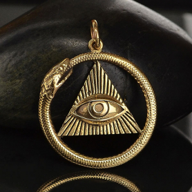 All Seeing Eye and Ouroboros Pendant - Bronze 26x21mm