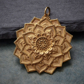 Bronze Lotus Mandala Pendant 34x29mm