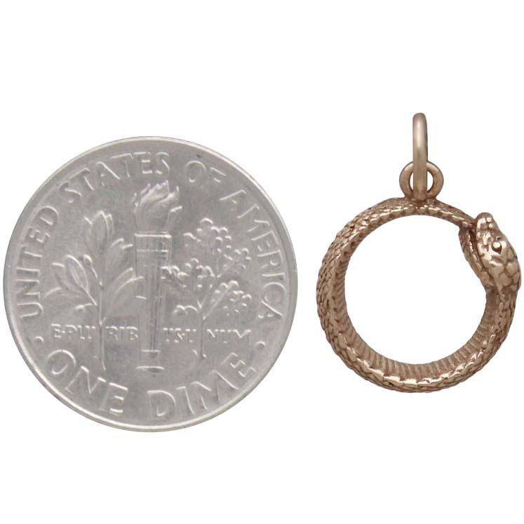 Bronze Ouroboros Snake Charm 18x12mm
