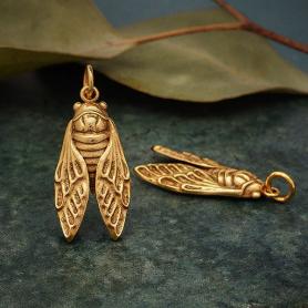 Bronze Cicada Charm 28x11mm