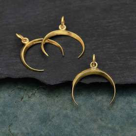 Bronze Smal Inverted Crescent Moon Charm 21x17mm