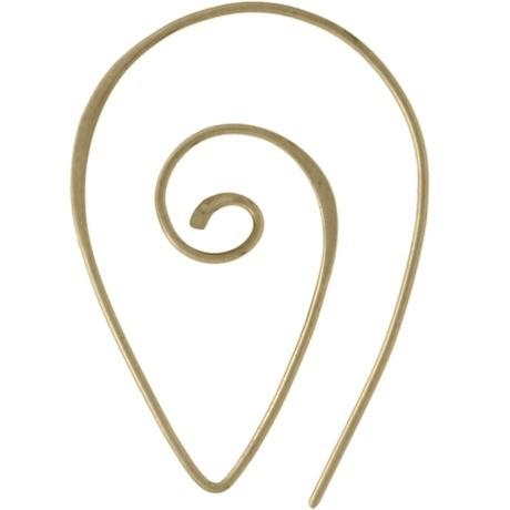 Spiral Teardrop Shaped Ear Wire - Bronze 40x26mm