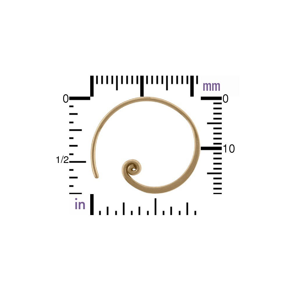 Circle with Curlicue Hoop Earring - Bronze 20x18mm