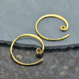 Circle with Curlicue Hoop Earring - Bronze