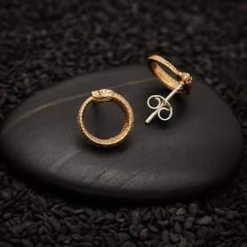 Bronze Ouroboros Post Earrings 12x12mm
