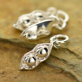 Two Peas in a Pod Charm - Silver Plated Bronze 18x4mm