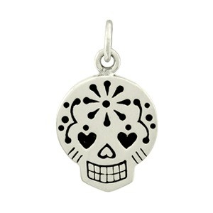 Small Sugar Skull Charm - Silver Plated Bronze DISCONTINUED