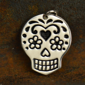 Large Sugar Skull Charm - Silver Plated Bronze DISCONTINUED