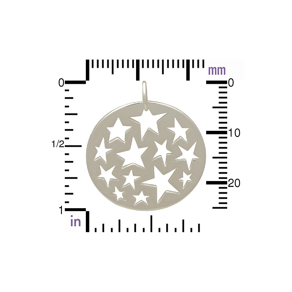 Round Charm w Star Cutouts - Silver Plate BronzeDISCONTINUED