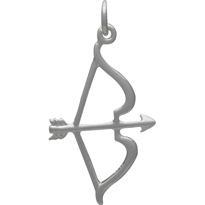 Bow and Arrow Charm - Silver Plated Bronze DISCONTINUED