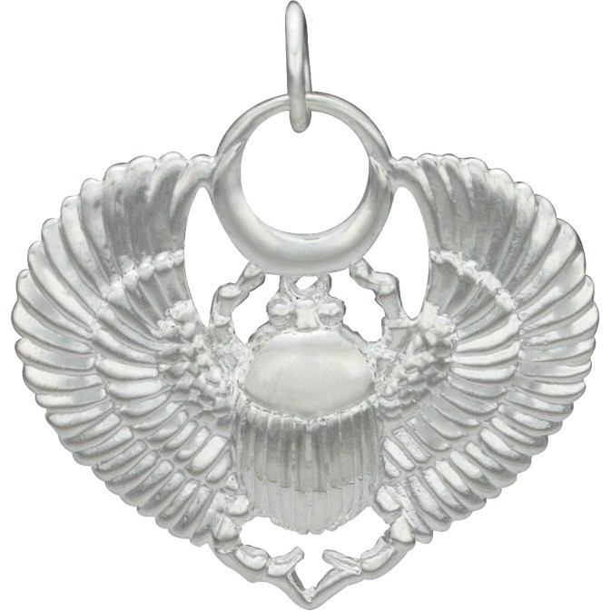 Egyptian Scarab Pendant - Silver Plated Bronze DISCONTINUED