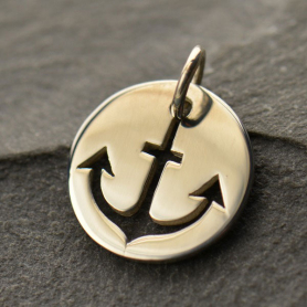 Anchor Charm on Disc - Silver Plated Bronze DISCONTINUED