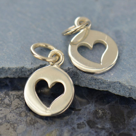 Round Charm w Heart Cutout Silver Plated Bronze DISCONTINUED