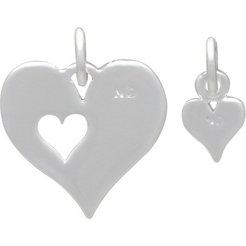 Heart Charm  Set - Silver Plated Bronze DISCONTINUED